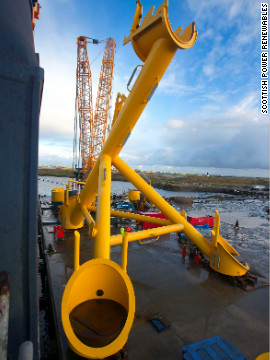 The device is over 30-meters-tall and is mounted to the seabed by a giant steel support structure.