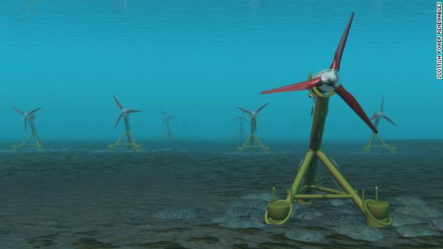 Una granja de turbinas submarinas genera electricidad con las mareas