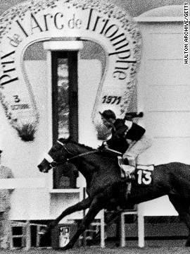Jockey Geoff Lewis takes Mill Reef across the finish line at the famous Prix De l'Arc de Triomphe at the Longchamps racecourse in 1971. He was thought by many to be the greatest racehorse of his generation.