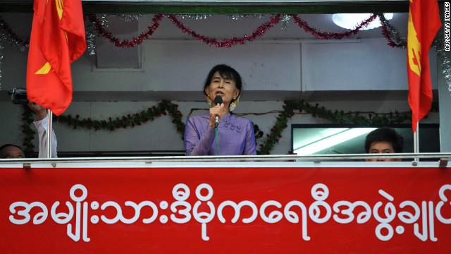 Myanmar opposition leader Aung San Suu Kyi speaks at the opening of a National League for Democracy office in Yangon, Myanmar.