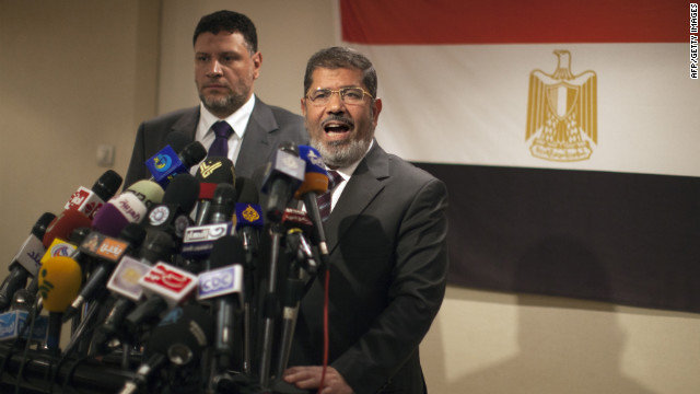 Muslim Brotherhood Egyptian presidential candidate Mohammed Morsi faces Ahmed Shafiq in a June runoff.