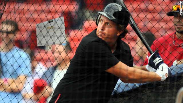Golf star Phil Mickelson had some batting practice ahead of the Boston Red Sox-New York Yankees game last September.