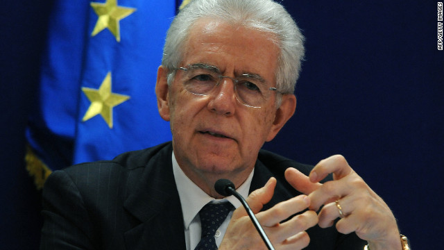 (File photo) Italian Prime Minister Mario Monti speaks in Brussels early May 24 2012.