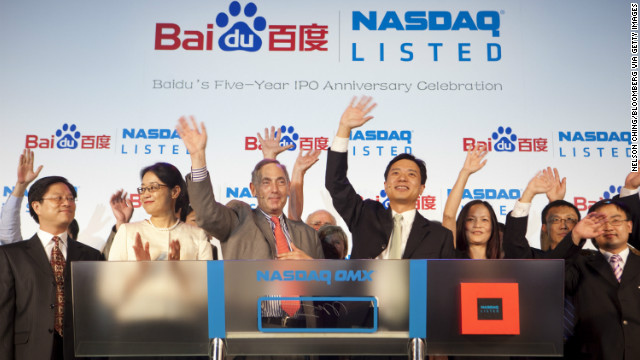 Li, second from left, celebrates the 5th anniversary of Baidu's IPO. Today the company is listed on the Nasdaq stock exchange and is valued at close to $32 billion.