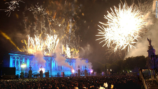 Fireworks burst over Buckingham Palace in 2002 after the queen lit a beacon to commemorate her Golden Jubilee.
