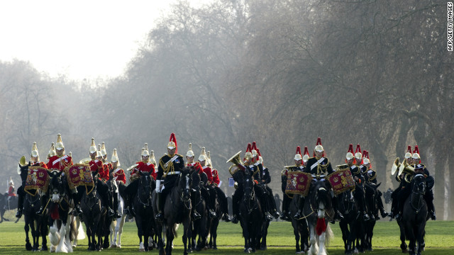 Members of the Household Cavalry Mounted Regiment parade on their horses during the Major General's inspection at Hyde Park in central London, on March 28, 2012 which they must pass to take part in state ceremonial activities.