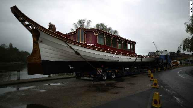 The new royal barge &quot;The Gloriana&quot; preparing for launch on the River Thames, London, England. &quot;The Gloriana,&quot; which will be crewed by 18 oarsmen, will lead the flotilla of over 1000 river craft carrying Queen Elizabeth II on June 3, 2012.
