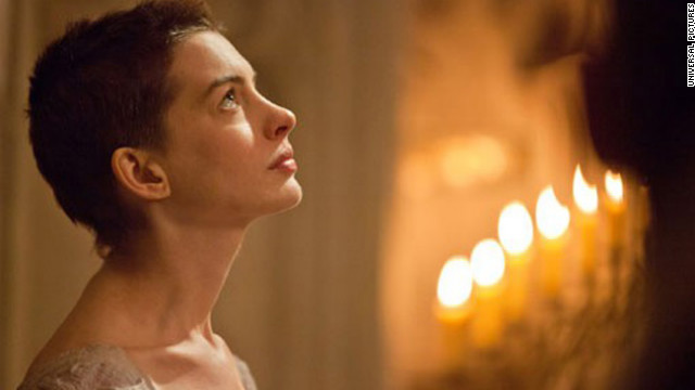 "Anne Hathaway didn't just have to shed weight to portray the tragic Fantine in ""Les Miserables."" <a href='http://marquee.blogs.cnn.com/2012/12/03/anne-hathaway-on-getting-used-to-her-short-do/' target='_blank'>The actress said </a>it took her 30 minutes to muster the courage to look in a mirror after her haircut."