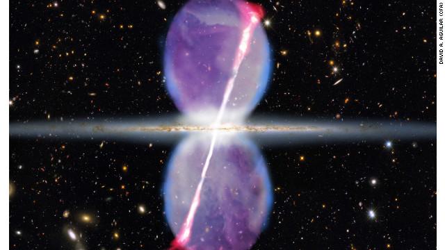 Dos chorros de rayos gamma salen del corazón de la Vía Láctea