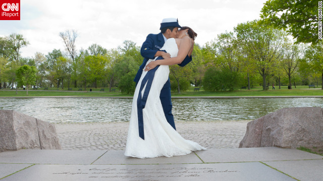 Sami, a boat mechanic in the U.S. Coast Guard, wore her dress blues for their April ceremony in front of the Constitutional Garden in Washington.