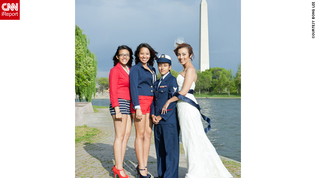 iReporter Valezka Taylor decided to adopt a sailor theme so her mate, Sami, could wear her Coast Guard uniform. They were inspired to get married after 