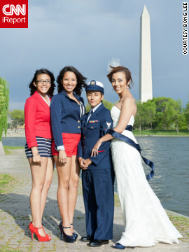 iReporter Valezka Taylor decided to adopt a sailor theme so her mate, Sami, could wear her Coast Guard uniform. They were inspired to get married after &quot;don't ask, don't tell&quot; was repealed, but it took an extra nudge from her teenage daughter to set the wheels in motion. Valezka's daughter and her aunt were bridesmaids; they wore red and blue to match the sailor theme.
