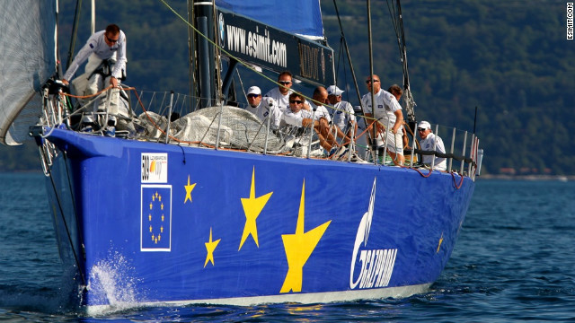 The &quot;Esimit Europa 2&quot; is the first sailing boat to compete under the European emblem and the first to be given the honor to fly the European flag.