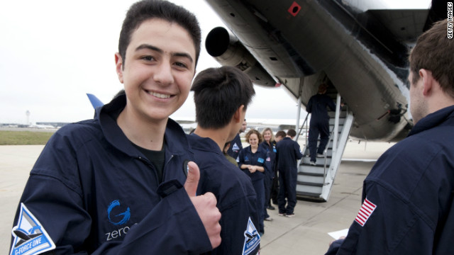 As a winner of the Space Lab competition, Mohamed was invited to Washington DC for a zero-gravity flight.