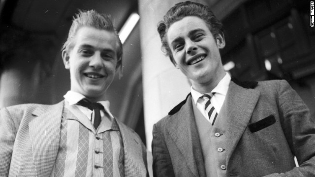 "In 1952 ""Teddy Boys"" were just starting to appear -- these guys were snapped in London in 1955."