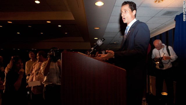 "Then-Rep. <strong>Anthony Weiner</strong>, D-New York, who got caught up in a Twitter photo scandal, told <a href='http://cnnpressroom.blogs.cnn.com/2011/06/01/rep-weiner-i-dont-know-what-photographs-are-out-there-in-the-world-of-me/'>CNN's Wolf Blitzer</a>: ""I had no idea what happened that night. ... Sometimes a prank is a prank."""