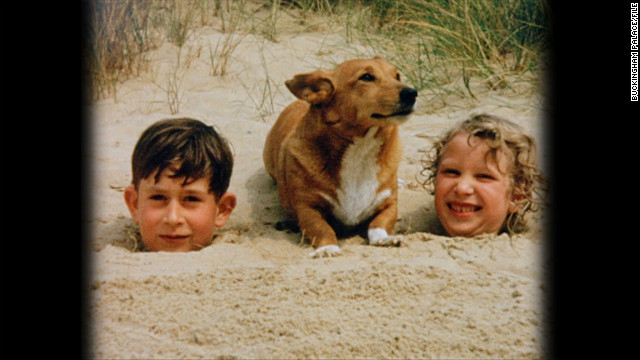 Prince Charles and Princess Anne in the sand at Holkham Beach during the summer of 1957. 