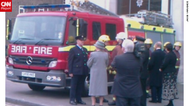 The queen inaugurates the headquarters of the London Fire Brigade, February 22, 2008, photographed by iReporter Jacob Varughese. He said: &quot;Before I came down to the UK to do my studies and I had a dream that I would meet the queen once in my life, so when I did it was a dream come true.&quot;