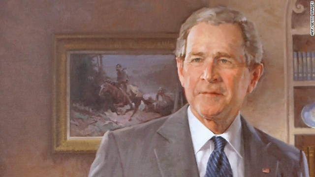 "The portrait of Bush shows a 1929 Western painting, ""A Charge to Keep,"" over the president's right shoulder. According to the White House, Bush often called attention to that painting and its significance."