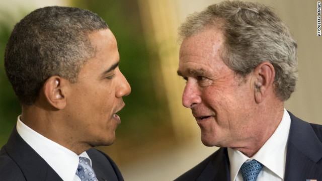 "Bush was in an equally joking mood during the event. ""Mr. President,"" Bush said, ""when you are wandering these halls as you wrestle with tough decisions, you will now be able to gaze at this portrait and ask, what would George do?"""