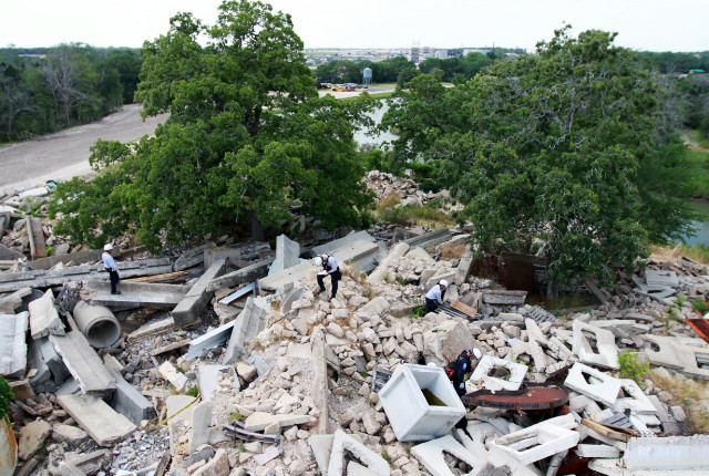 Disaster City includes rubble piles of different materials, including one of concrete.