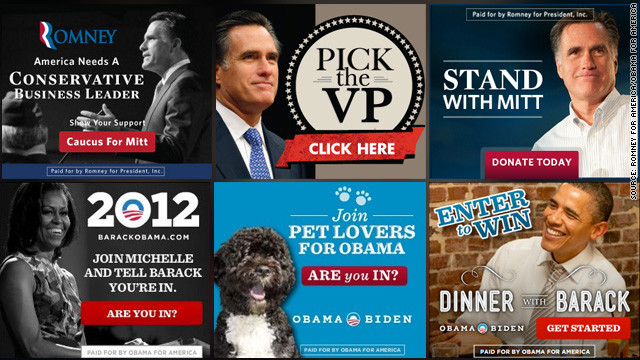 Both campaigns have spent millions on Internet ads. Mitt Romney's tend to feature images of the candidate with messages like &quot;Ready to Lead,&quot; while President Obama's stand in stark contrast with images of the first lady, the first family or even their dog, Bo.
