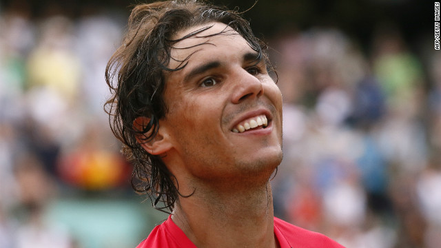 Rafael Nadal celebrates after beating Argentina's Eduardo Schwank in the third round at the Roland Garros on Saturday.