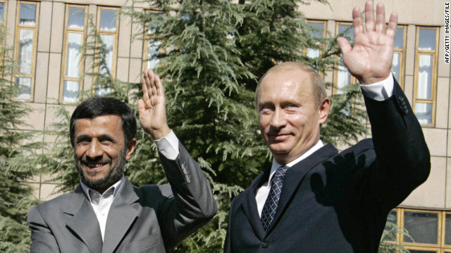 File photo of Iranian President Mahmoud Ahmadinejad, left, and Russian President Vladimir Putin meeting in 2007.
