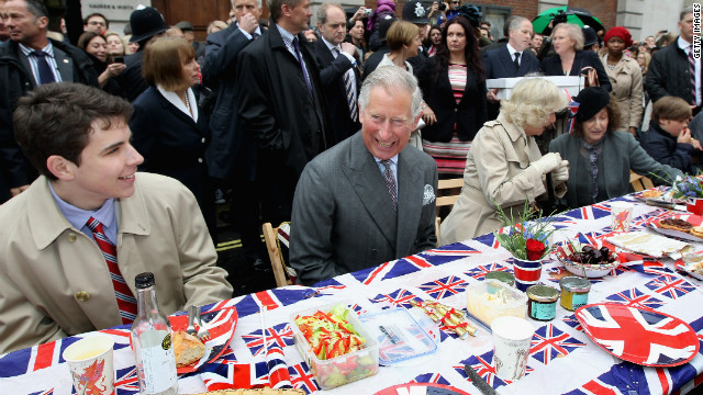 Prince Charles, Prince of Wales and Camilla, Duchess of Cornwall attend the &quot;Big Jubilee Lunch'&quot; in Piccadilly ahead of the Diamond Jubilee River Pageant.