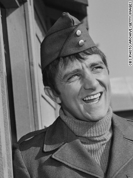 "Richard Dawson as Cpl. Peter Newkirk in the long-running CBS comedy television series ""Hogan's Heroes"" in 1965."