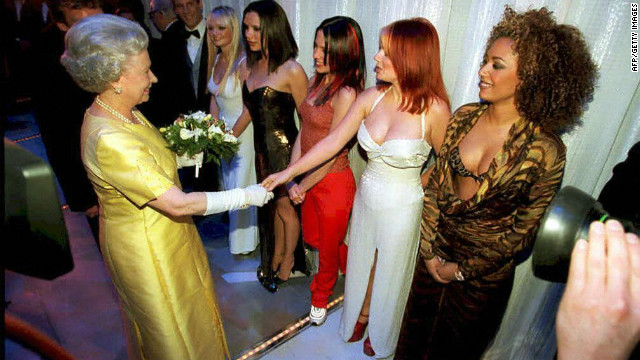 In 2001, the queen met girlband sensation the Spice girls after a variety performance in London. Here she shakes Geri 'ginger spice' Halliwell's hand as the rest of the group look on. 