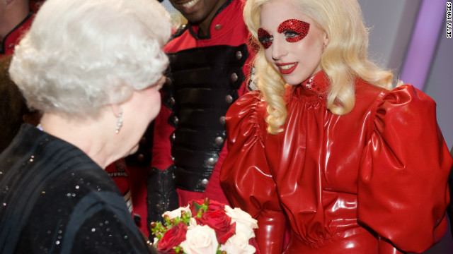 Queen Elizabeth II meets American singer Lady Gaga following the Royal Variety Performance in Blackpool, England on December 7, 2009. Returning to the British seaside town for the first time since 1955, the Royal Variety Performance is an annual event which showcases popular music and entertainment. 