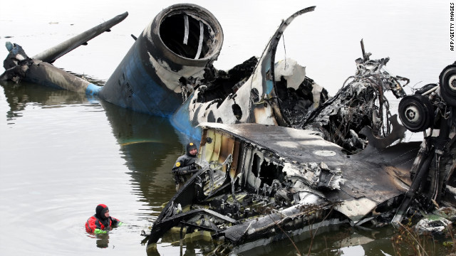 A plane carrying dozens of hockey players crashes on Septemer 7, 2011, outside the Russian city of Yaroslavl, about 160 miles northeast of Moscow. Forty-three people were killed. One of two survivors later died of his injuries.