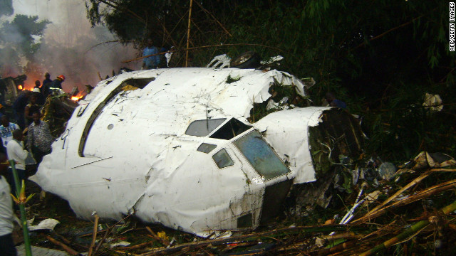 A Hewa Bora Airways plane crashes on July 8, 2011, while trying to land in bad weather at the airport in Kisangani, Democratic Republic of Congo. At least 74 of the 118 people on board were killed.