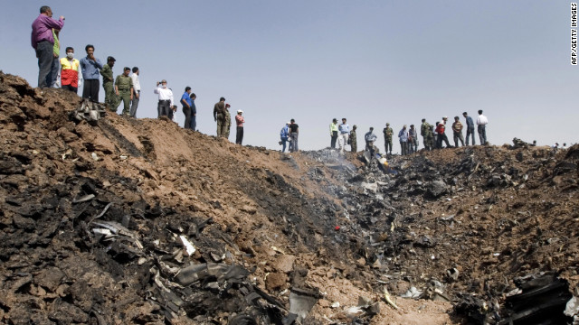 A Caspian Airlines plane goes down in a field near the north-central Iranian city of Qazvin, on July 15, 2009, killing all 168 people on board and leaving a huge smoldering crater.