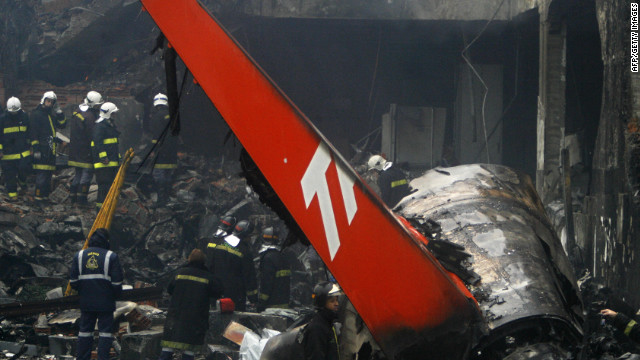 A TAM Airlines jet skids off the runway into a gas station and bursts into flames on July 17, 2007, after landing at the airport in Sao Paulo, Brazil. All 199 people on board were killed.