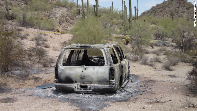 Pinal County Arizona Sherif depatment reports that five bodies were found in a burned out SUV.