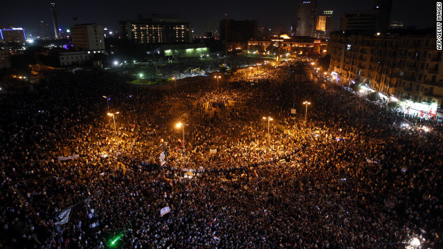 Protesters continued to occupy Tahrir Square -- site of the protests that helped overthrow Mubarak in 2011 -- on Saturday night.