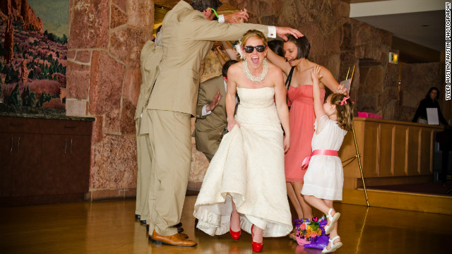 When Betsy Wanless married her husband, Matt Johnson, she became Betsy Johnson. She wore bright red Betsey Johnson heels on her wedding day because she wanted the brand to be a part of her big day.