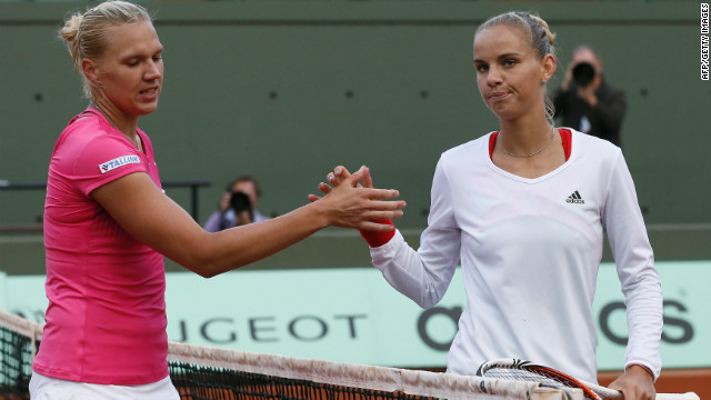 Sharapova will next play Estonia's Kaia Kanepi (left) -- who followed up her win over former world No. 1 Caroline Wozniacki by beating unseeded Dutch player Arantxa Rus.