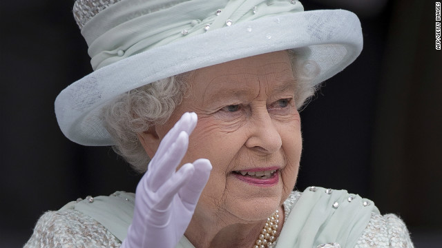 Queen Elizabeth II waves as she leaves St Paul's Cathedral. The queen wraps up four days of Diamond Jubilee celebrations with a thanksgiving service and ceremonial carriage procession in London.