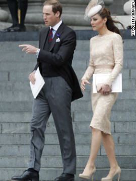 Prince William and Catherine, Duchess of Cambridge leave St Paul's Cathedral after the service. 