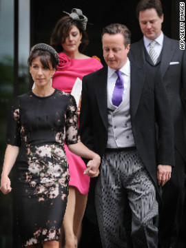Britain's Prime Minister David Cameron, front right, and his wife Samantha Cameron, front left, and Deputy Prime Minister Nick Clegg and his wife Miriam Gonzales leave St Paul's Cathedral after a National Service of Thanksgiving to celebrate the Queen's Diamond Jubilee.