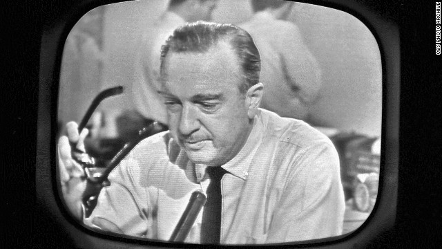 CBS anchorman Walter Cronkite has an emotional on-air moment after announcing the death of President Kennedy on November 22, 1963.