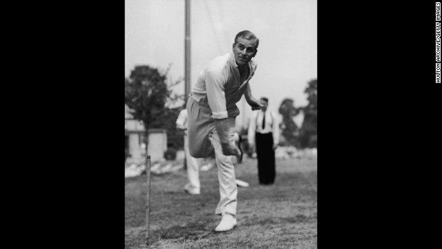 July 31, 1947: Prince Philip, Duke of Edinburgh, bowling at the nets during cricket practice.