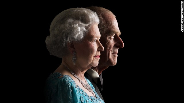November 26, 2001: Queen Elizabeth II and the Duke of Edinburgh pose for a photo at Buckingham Palace to commemorate her Golden Jubilee in 2002.