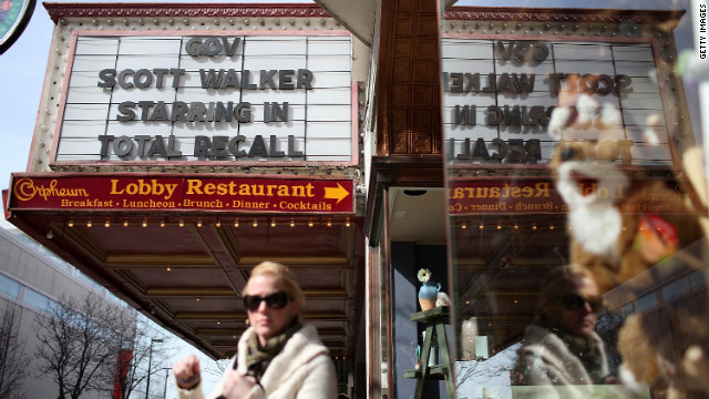 The marquee at the Orpheum Theatre in Madison, Wisconsin, mocks Walker with &quot;Total Recall&quot; movie reference on March 11, 2011.