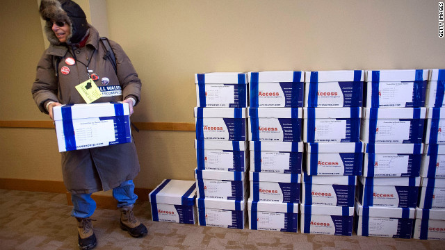 Recall propnents deliver over 900,000 certified signatures in support of the recall to the Government Accountability Offices in Madison, Wisconsin on January 17, 2011.