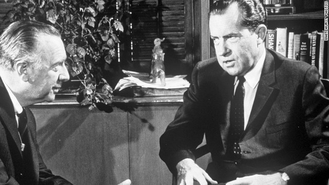 Cronkite interviews Richard Nixon on April 1, 1968, in the early stages of his run for president.