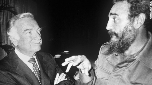 Cronkite listens to Cuban President Fidel Castro on February 14, 1980, during an interview conducted the day Cronkite announced his plans to retire as evening news anchor at CBS.